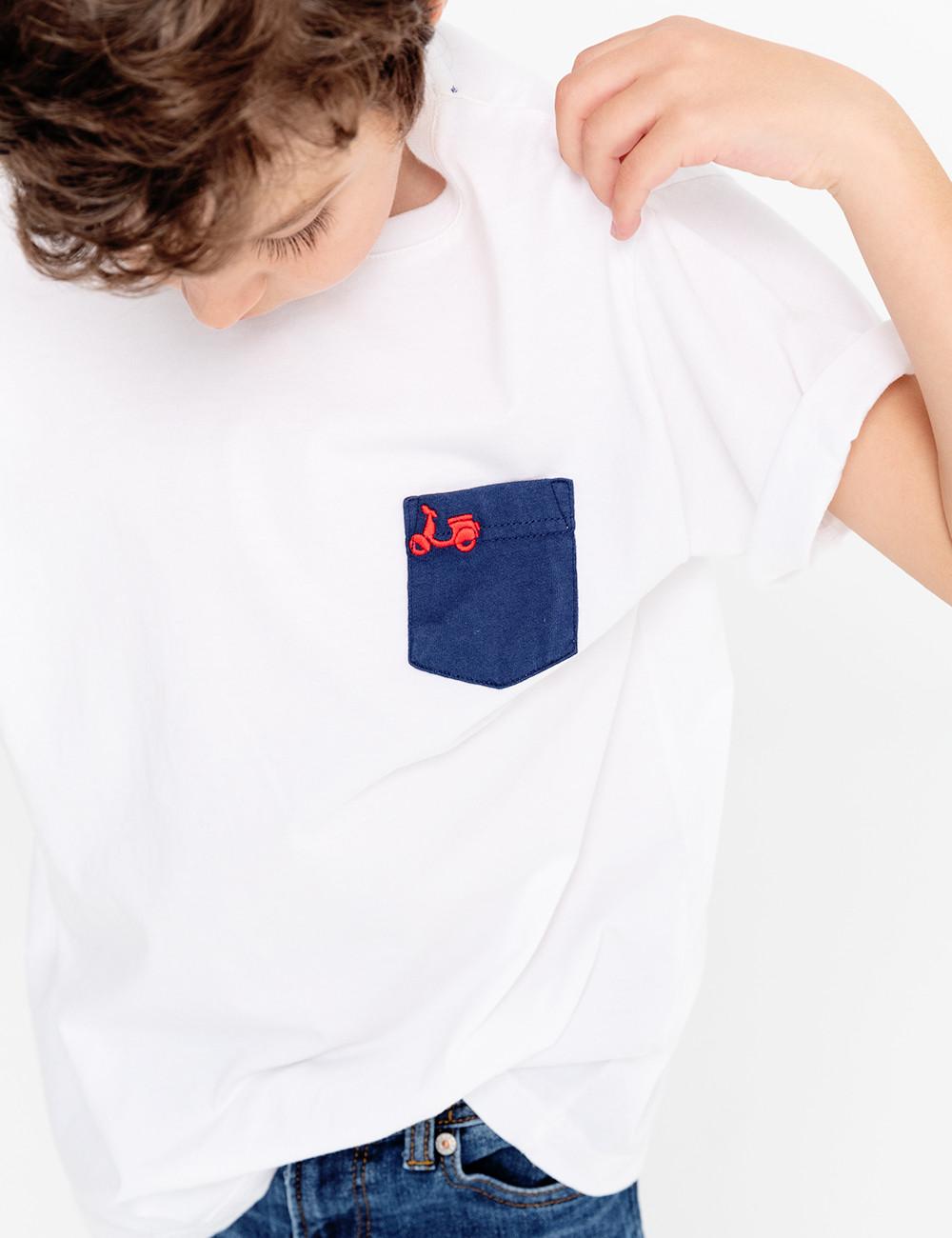 Camiseta Niño SCOTTA Bolsillo Blanca